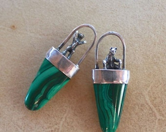 Sterling Silver Cast Bears and Malachite Earrings