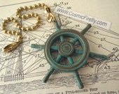 Nautical Ship's Wheel Fan Pull Steampunk Fan Pull Chain Beach Decor Nautical Fan Pull Green Verdigris