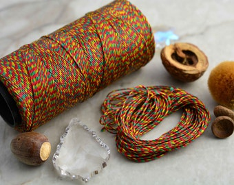 Fall Mix: WAXED Polyester Cord, ~1mm Macrame Cord, pack of 25ft (8.33 y)/Hilo Encerado, Waxed Polyester Thread / Red, Green, Yellow Cord