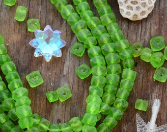 Limeade Green: 10pcs of Recycled Glass Beads,10-12mm Irregular Glass Rondelles / Reclaimed Glass, Fair-Trade Beads / Jewelry Supplies