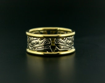 Sterling Haida Ring with 14k Yellow Gold Rails Hand-Carved Wolves Design