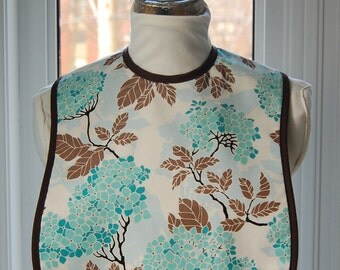 Blue Hydrangea - Small Reversible Fabric Adult Bib - pretty floral cotton print with solid dark brown lining - inner absorbent flannel layer