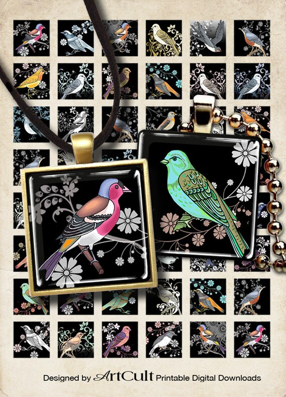 Digital Collage Sheets DECO BIRDS 1x1 inch and 7/8x7/8 inch size square Images Printable download for DIY pendants, magnets, bezel settings