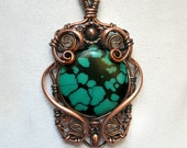 Natural Turquoise and Copper Pendant - Round Bead