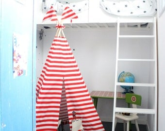 Tipi Tent | MIDI size | Red+White stripes