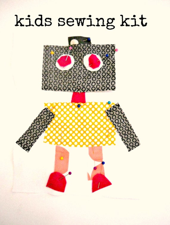 Robot Sewing Kit Boys Sewing Kit Craft kit Sew a Pillow Sew a Wall Hanging 8.5x8 Beginner Sewing Kit Kids Sewing Kit
