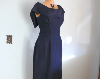 vintage 1960s Dress  // Navy Silk Dress by Gigi Young