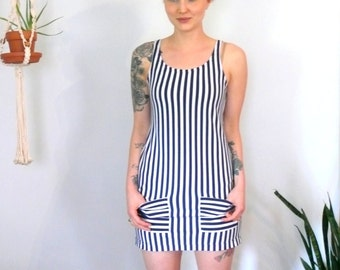 1990s Dress // Navy Striped mini Dress