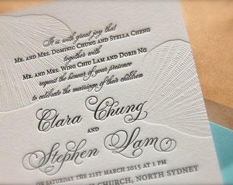 Aqua and Sand (tan) Nautical Letterpress Wedding Invitations, Blind Emboss Invitation, Destination Clam Sea Shell Wedding Invitation DEPOSIT