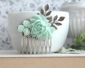Mint Flower Hair Comb. Shades of Mint Wedding, Bridesmaid Gifts, Wedding Bridal, Mint Rustic Wedding, Summer Mint Wedding, Mint Green Comb