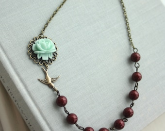 Garden Wedding. Soft Mint Green Rose Flower, Bourdeux Wine Red Glass Pearls, Flying Swallow Necklace. Bridesmaid Gifts, Christmas Gift Ideas