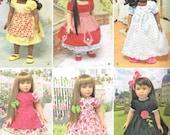 18 Inch Tall Girl Doll Dress, Apron, slip Nightgown Pajamas Panties Sewing Pattern Simplicity 1486 American Made