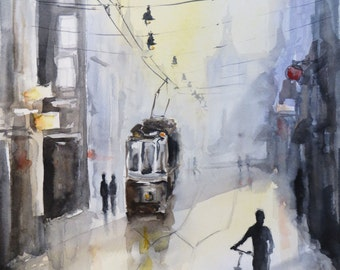 original watercolor painting of a rainy street scene in the city with tram and cyclist, with mat