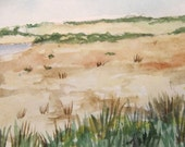 seaside  coast original watercolor painting landscape