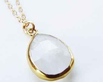 Vanilla Moonstone Gold Necklace