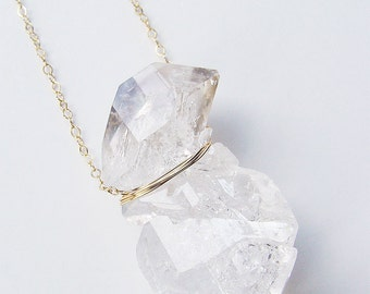 Double Herkimer Diamond Necklace, Gold Fillled