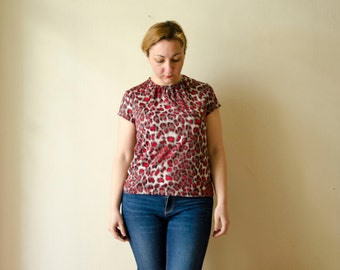 Leopard Top in Red, Animal Print Tshirt with short sleeves, Summer Top