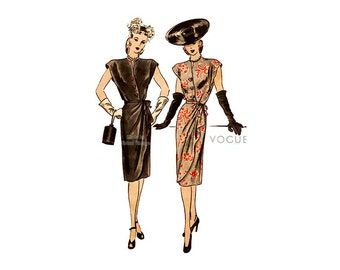 40s Vogue Dress Pattern 5403, Surplice Bodice, Draped Overskirt, Cap Sleeves, Day Evening Dress, Easy Sewing Pattern