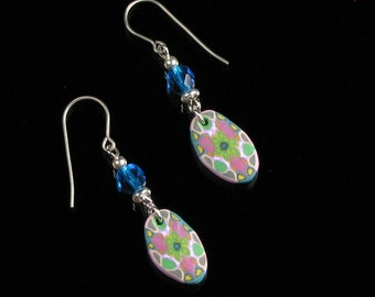 Colorful Oval Dangle Earrings, Pastel Mandala Earrings, Titanium Earrings, Unique Jewelry Gift, Polymer Clay Earrings, Womens Gift Under 15
