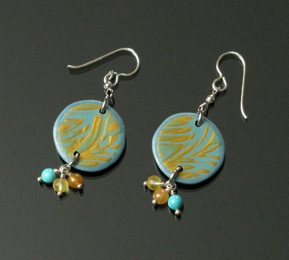 Mokume Gane Earrings: Aqua & Gold Mokume Gane Earrings Unique Boho Dangle Boho