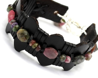 Watermelon Tourmaline Leather Bracelet Boho Style Unisex Design Black Multicolor Green Pink Modern Jewelry October Birthstone