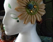 Burlap Flower with Amber Gems and Teal Flower on Autumn Themed Hairband