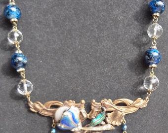Vintage Art Nouveau Enamel Necklace Pretty Deep Blues