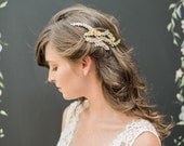 Chloe Gold Wedding Comb with vine and crystal detail