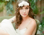 Rose Gold Chain and Silk Flower Bohemian Wedding Hair Piece