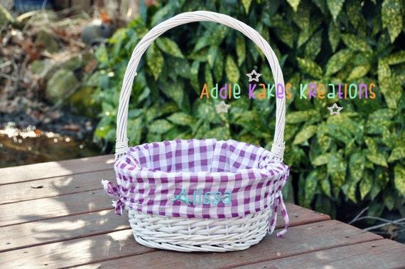 Personalized Easter Basket Purple Gingham Purple Liner