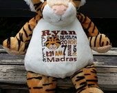 Personalized baby gift, Tiger, birth announcement, best gift, plush, stuffed animal, tiger, embroidery, keepsake, ORIGINAL embroider buddy