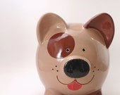 Brown Dog Piggy Bank - Personalized Puppy Dog Bank - Animal Piggy Bank - Kids Bank - Puppy Piggy Bank - with hole or  NO hole in bottom
