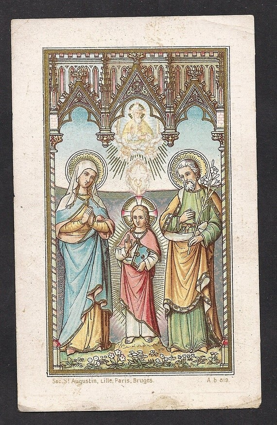 Antique Holy Family Belgian Holy Card. Beautiful Old Catholic item.