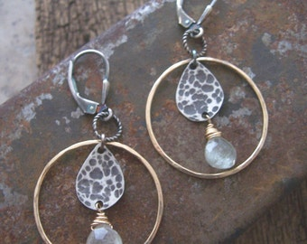 Hoop Drop Earrings with Clear Quartz Crystals