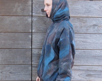 Watercolor Faux Finish Nylon Jacket with Funnel Collar / Hood