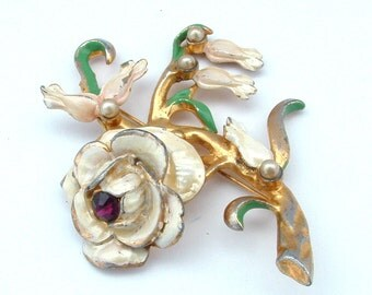 Extra LARGE Lily of the Valley White Rose Metal Enamel Amethyst Rhinestone Flower Brooch Antique Jewelry Faux Pearl Beads