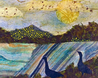 Original NatureArt Mixed Media Collage Two Geese 6 x 6
