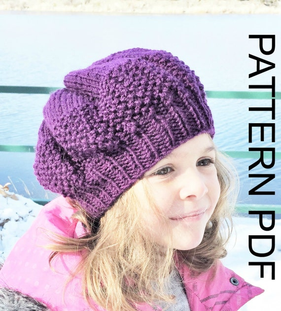 Knitted Beret Pattern Toddler : Knitting pattern hat Toddler Child Adult sizes Instant