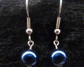 Blue pearl earrings in choice of silver or gold plated findings