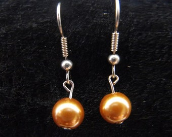 Gold pearl earrings in choice of silver or gold plated findings