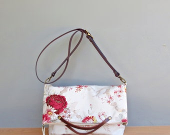 Red Shabby Rose Shoulder Bag, Vintage Style Convertible Bag, Adjustable Leather Strap, Tote Bag, Cottage Chic Floral Purse, Made in USA