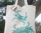 Crab Tote Bag in Teal
