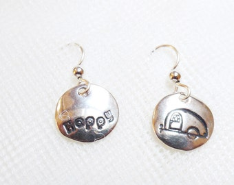 Sterling happy camper earrings, airstream jewelry, retro camper jewelry, camper kitsch, retro chic