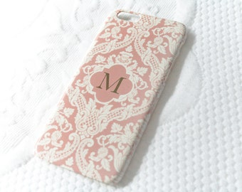 Pretty iPhone 6S Case Pink iPhone 5S Case Damask Monogram iPhoneSE, iPhone 7, iPhone 7 Plus