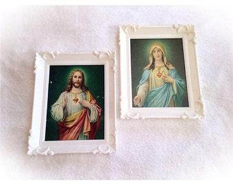 Vintage Sacared Heart Virgin Mary and Jesus Lithograph Plastic White Frames