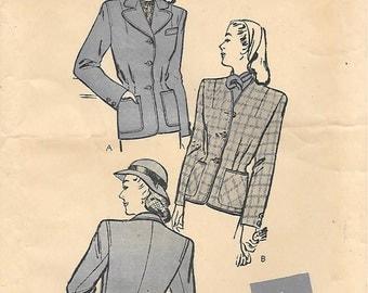Butterick 3312 -1940s Womens Jacket Unprinted Sewing Pattern Bust 38 Patch Pockets Sport Blazer