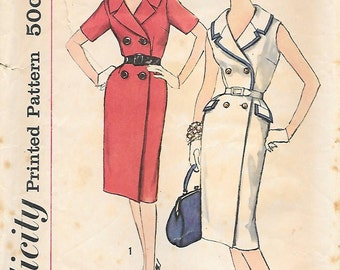 Simplicity 3406 1960s Wrap Around Double Breasted Dress Slenderette Vintage Sewing Pattern Half Size Bust 37