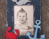 Kids Picture Frame NAUTICAL - Hand Painted Wood