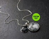 Custom Text Full Moon Necklace - Custom Glass Dome Full Moon Phase Double Necklace Quote Pendant Charm