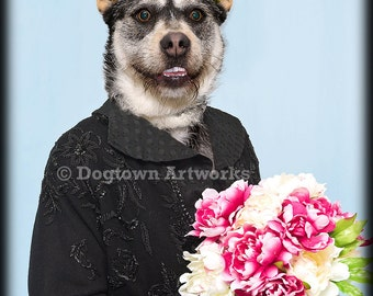 Maid of Honor, large original photograph of happy Australian Cattle dog wearing Maid of Honor dress